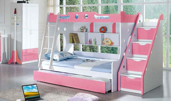 Girls Bunk Beds Girl Bunk Bed With Stairs 500x296 Girl Bunk Bed