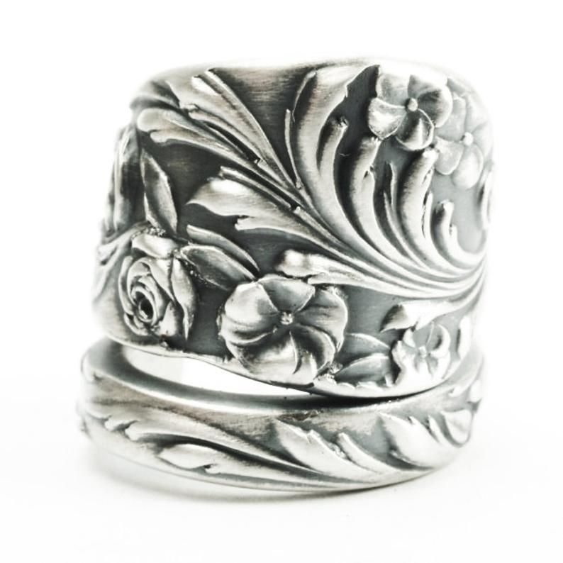 Sterling Silver Adjustable Ornate Spoon Ring