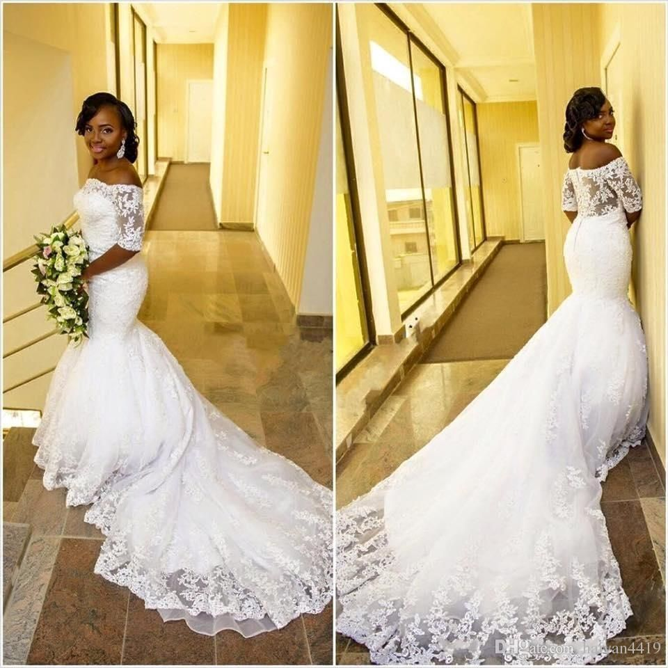 5b517b1b92d9 2017 African Cheap Mermaid Wedding Dresses Off Shoulder Half Sleeves Lace  Appliques Chapel Train Plus Size Button Back Formal Bridal Dress Lace  Wedding ...