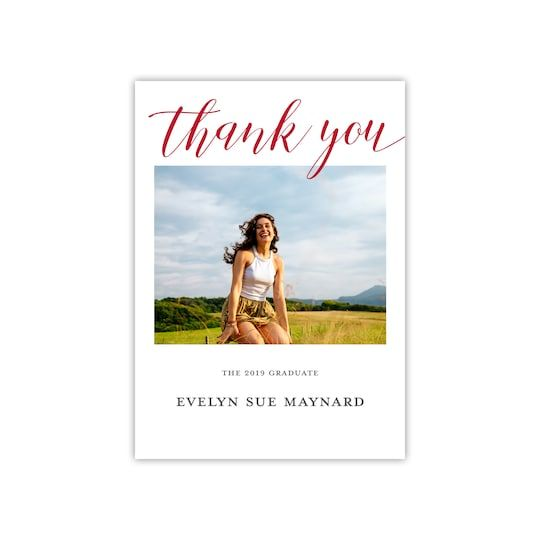 Photo of Gartner Studios® Personalized Clear Script Flat Graduation Thank You Card in Brick | 5″ x 7″ | Michaels®