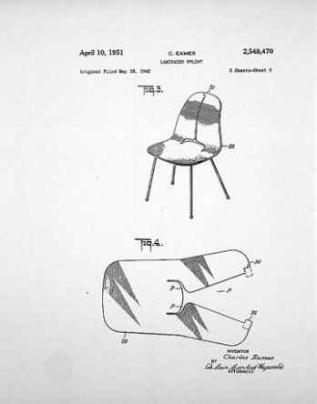Eames Patent Drawing for Plywood Chair. Submitted by Charles, registered in  photographic reproduction
