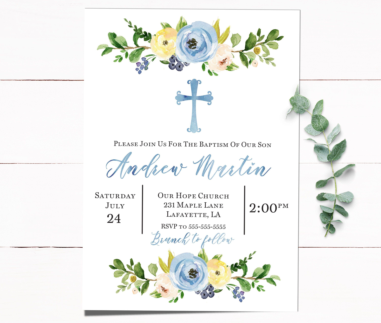 Baptism Invitation, Christening Invitation, Boy Baptism Invitation, Invitation Baptism, Baptism Invitation Boy, Blue Baptism Invitation by PaperAndPecans on Etsy