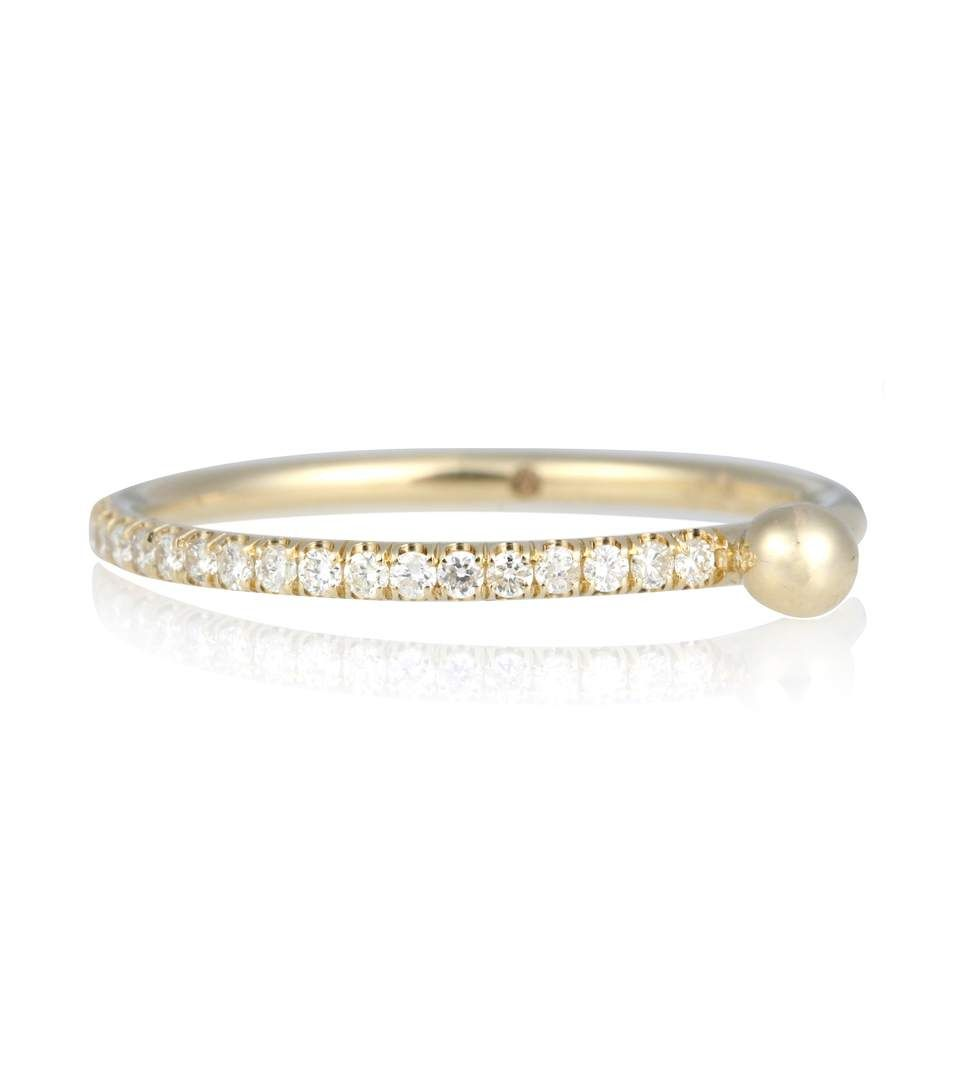 Wasson Moon Tear 14kt gold and diamond ring IVhhwJS