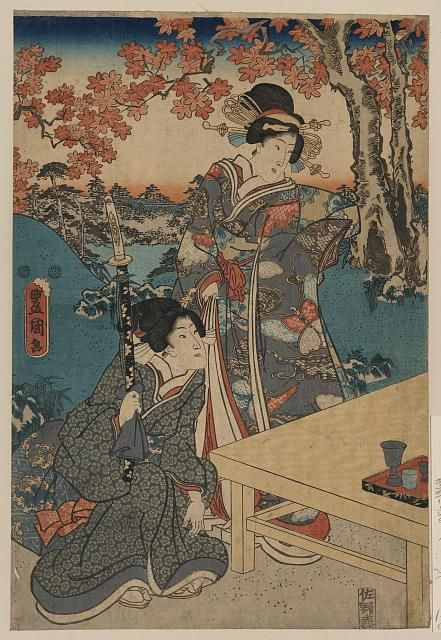Toyokuni. Fantastic almost-monochrome print. The red accents are a great touch. From the Library of Congress' collection of Japanese prints. If you click through to the L.O.C., you can download a huge TIFF.