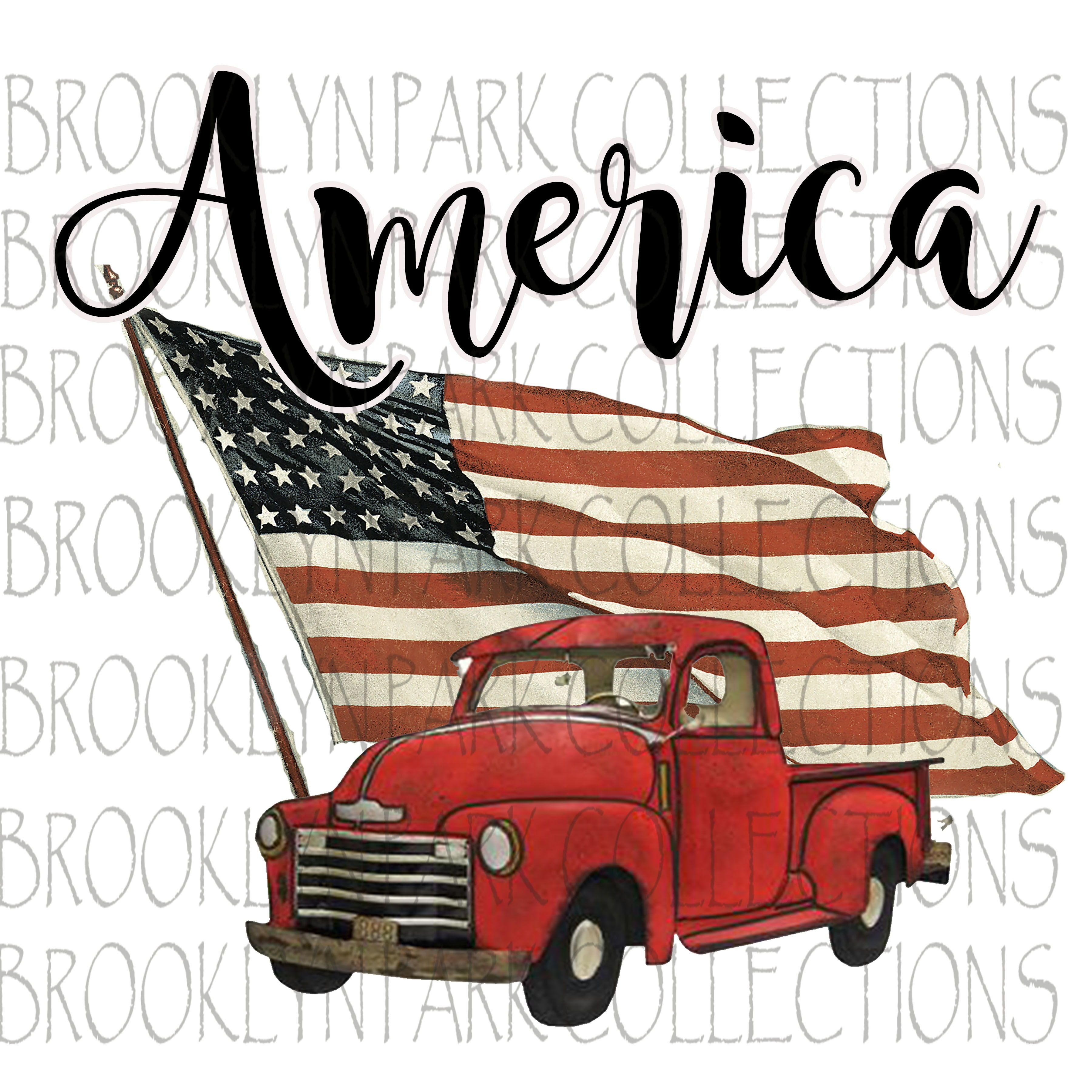 America Usa Flag Vintage Truck Instant Download Shirt Art Print Pillow Sublimation Png Vintage Truck Red Truck Vintage Red Truck