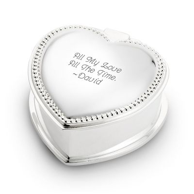 Personalized Silver Heart Mini Jewelry Box Add Your Message