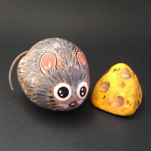 Mouse And Cheese Hand Painted Garden Stones Decorative Rock Set Of 2 Painted Rock Animals Painted Rocks Rock Decor