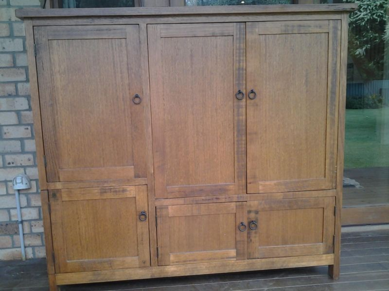 Tv Cabinet With Retractable Doors Solid Timber Other
