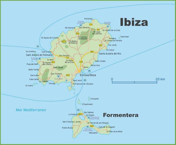 Map of Ibiza and Formentera Maps Pinterest Ibiza Ibiza map