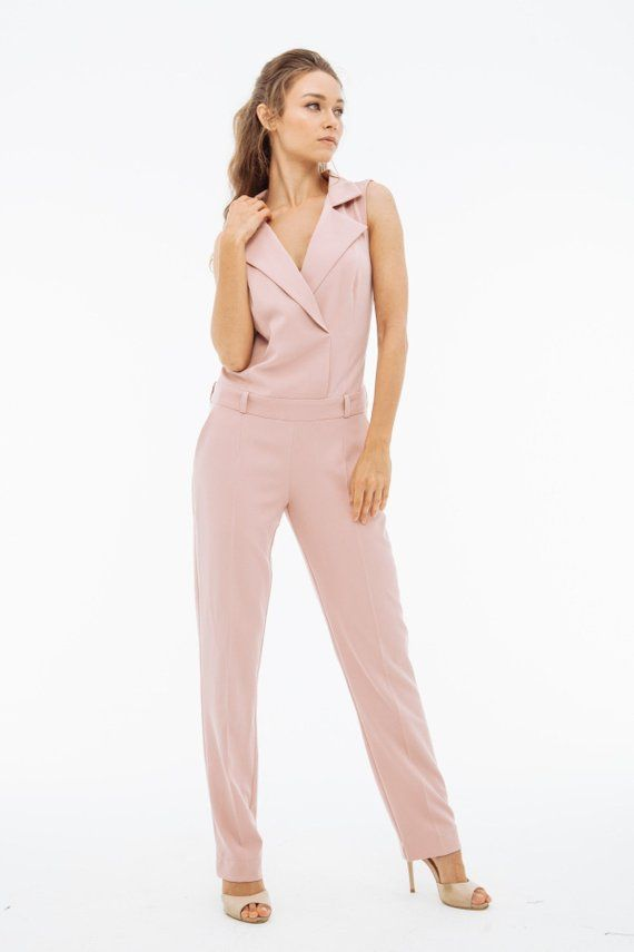 ac4686241497 Womens office light pink summer sexy jumpsuit for womens with fitted ...