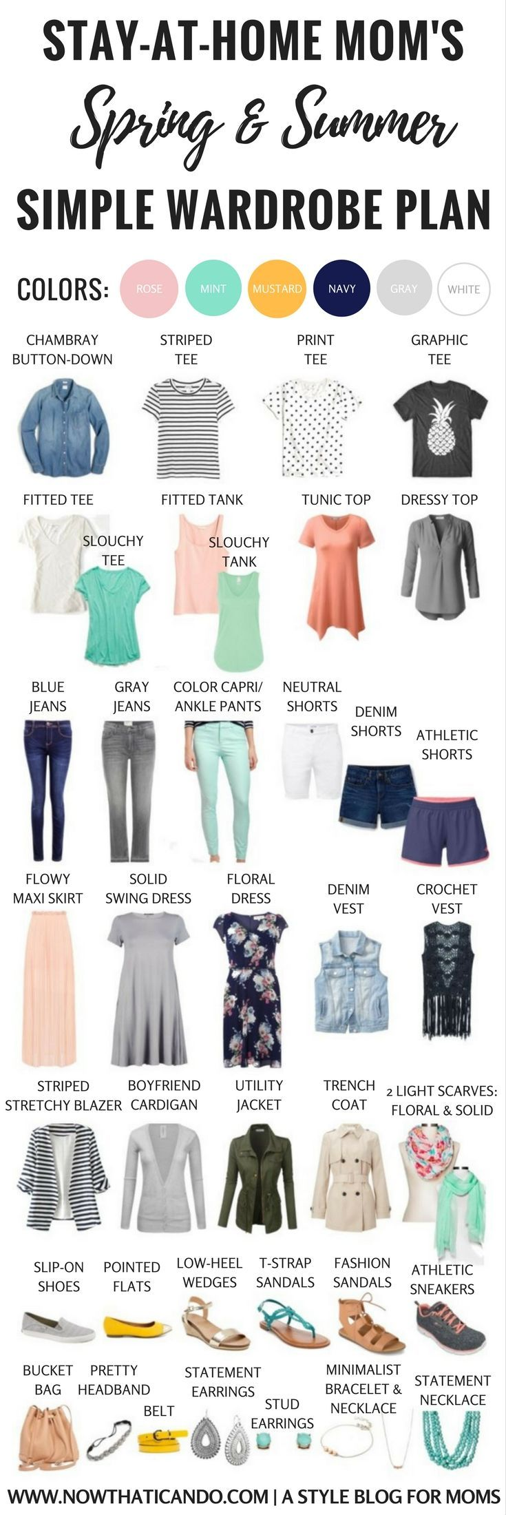 Basic Spring/Summer Capsule Wardrobe (86+ Outfits) for Stay-at-Home Moms - PLUS 3