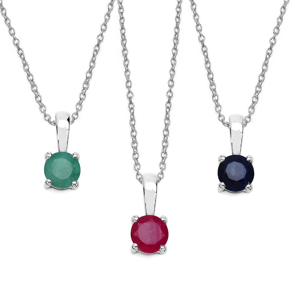 Sterling silver piece set round ruby sapphire and emerald pendant