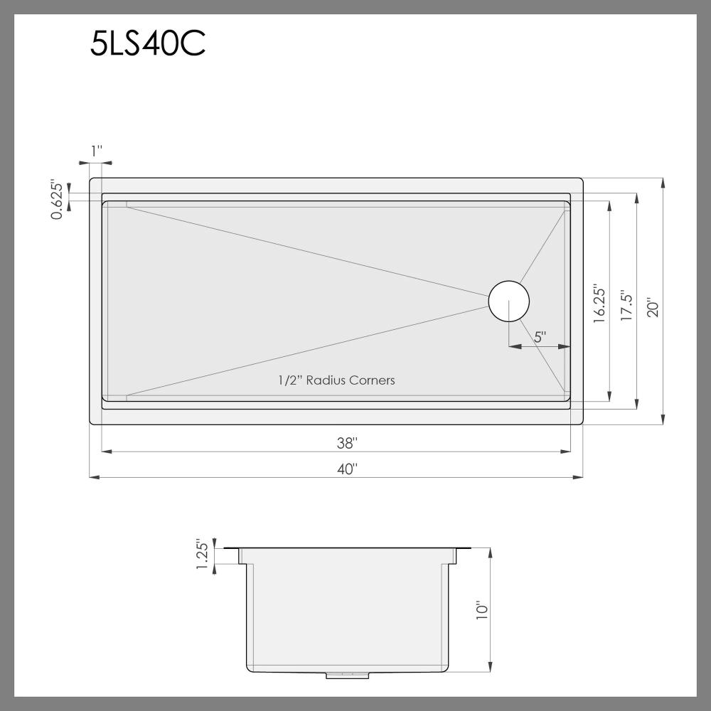 Best 40 Ledge Sink Single Bowl Reversible 5Ls40C 400 x 300