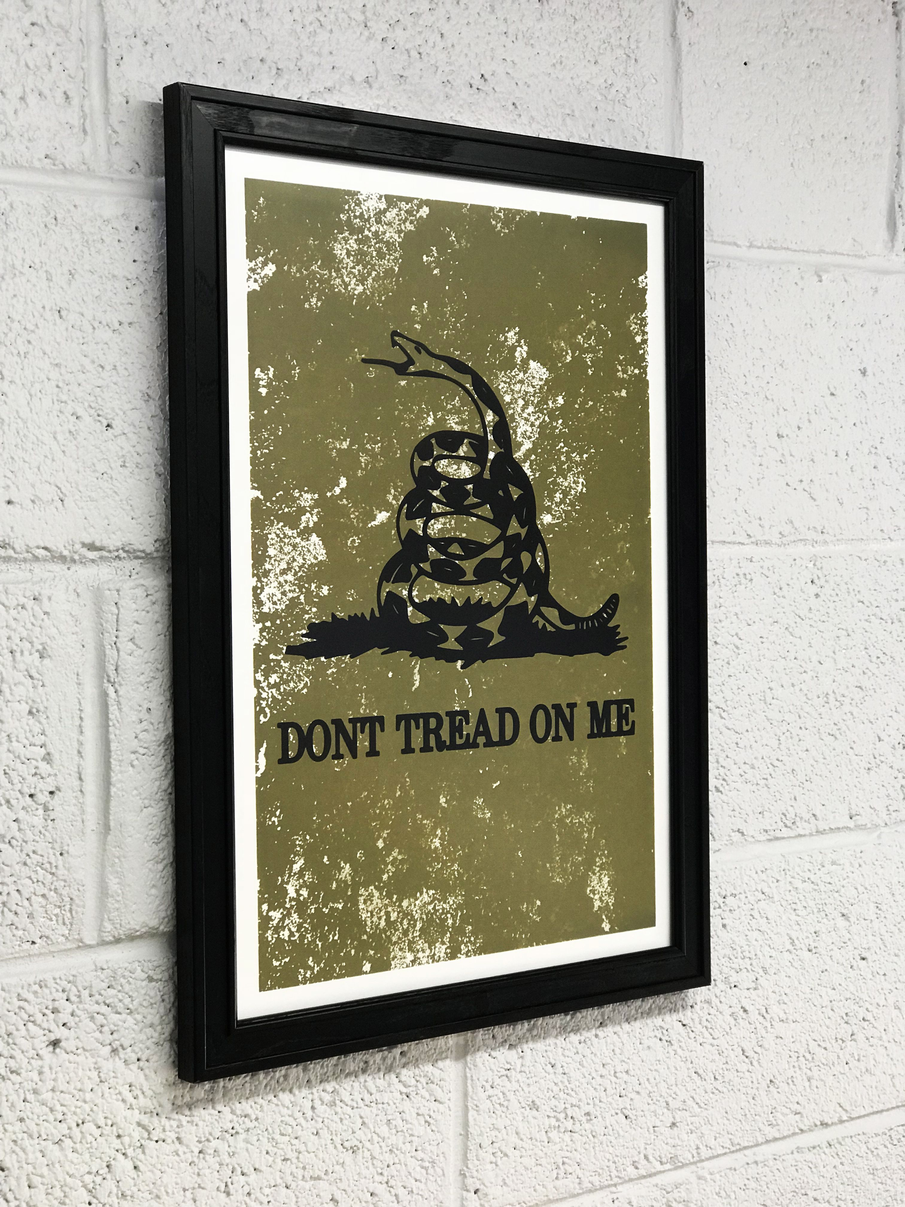 Don T Tread On Me Gadsden Flag Distressed Army Green Art Print Green Art Print Flag Art Poster Art