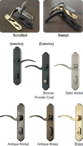 Lockmaster Multi-Point Lock Handle Set for Durabuilt doors - Choose from two designer lever styles in five finishes to complete your multi-point lock system. Handle set includes interior/exterior handle with key, in both active and in-active styles (double doors). Available with Everlast Composite Door Frame and Eclipse Doors.