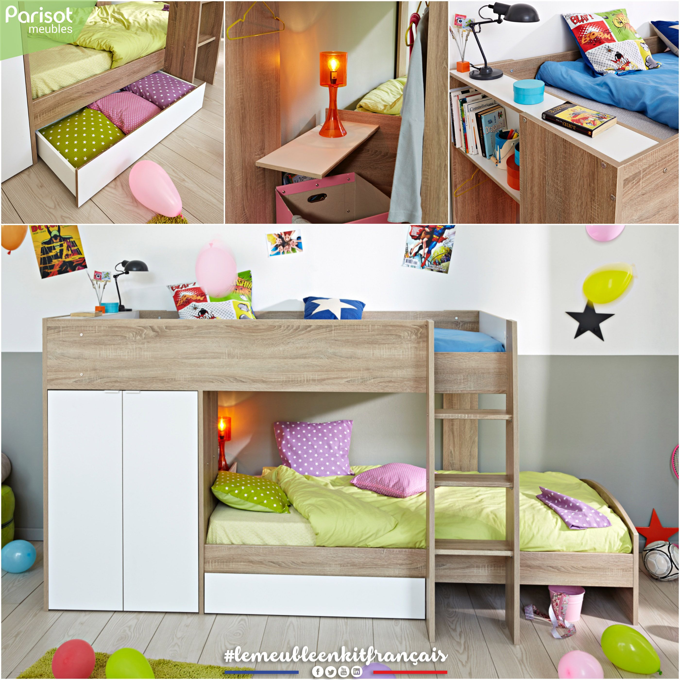 Stim By Parisot Meubles An Original Bunk Bed Which Allows To Have 2 Sleeping Spaces They Are More Distinct Ideias Para Quartos Pequenos Beliche Cama Beliche