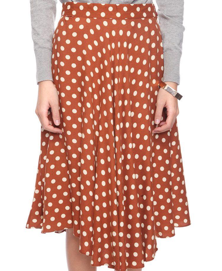 Polka Dot Calf Skirt
