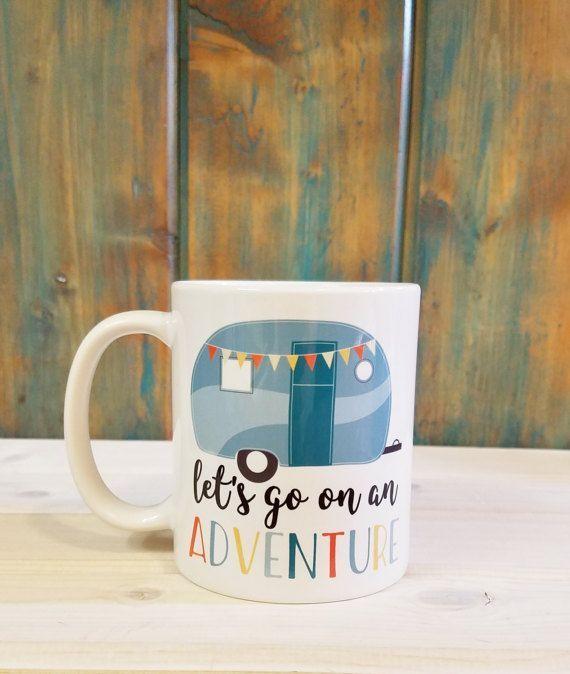 Exceptionnel Let's go on an adventure mug, adventure mug, travel mug, camping  GR46