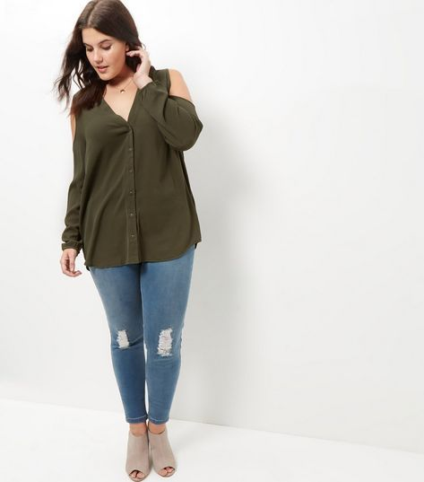 e25780a4cf95d Curves Khaki V Neck Cold Shoulder Shirt