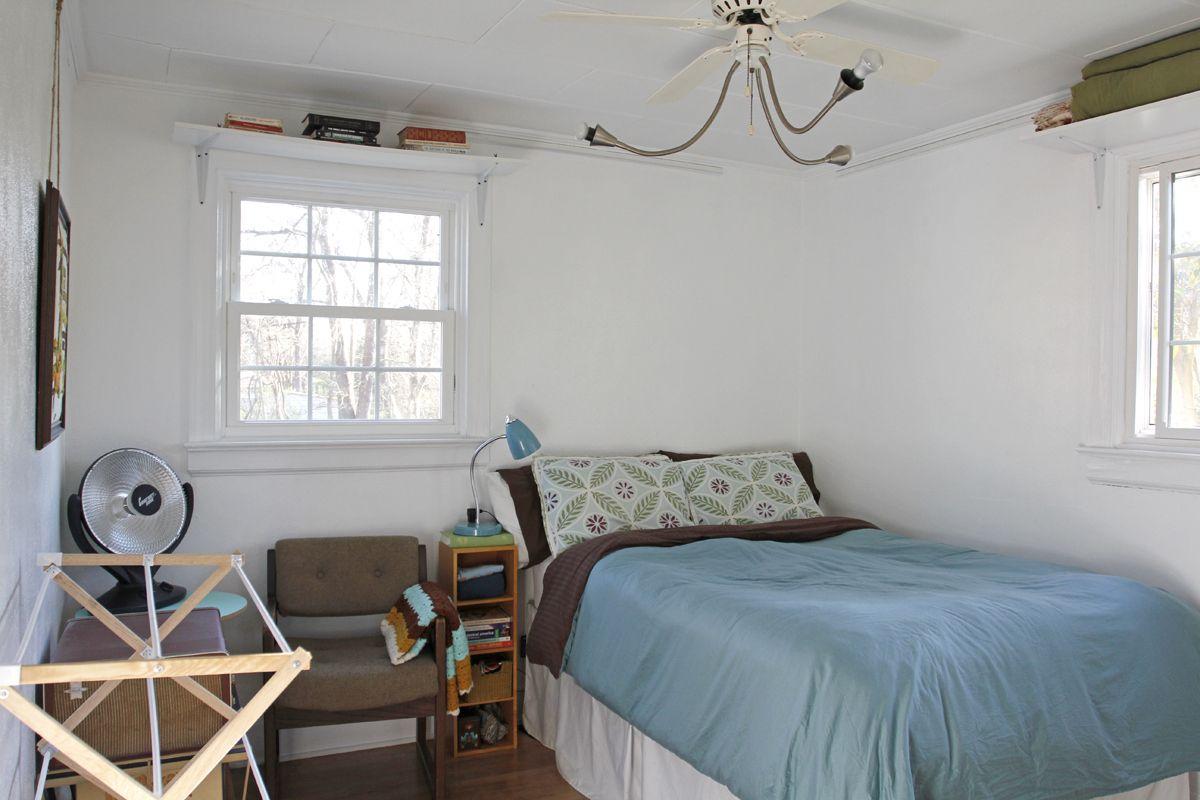 Window above bed  bethanys  sqft garage apt   interiors  pinterest  simple living