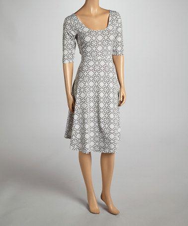 0fd7d79a62 Gray & White Arabesque Scoop Neck Dress by LV Collection #zulilyfinds