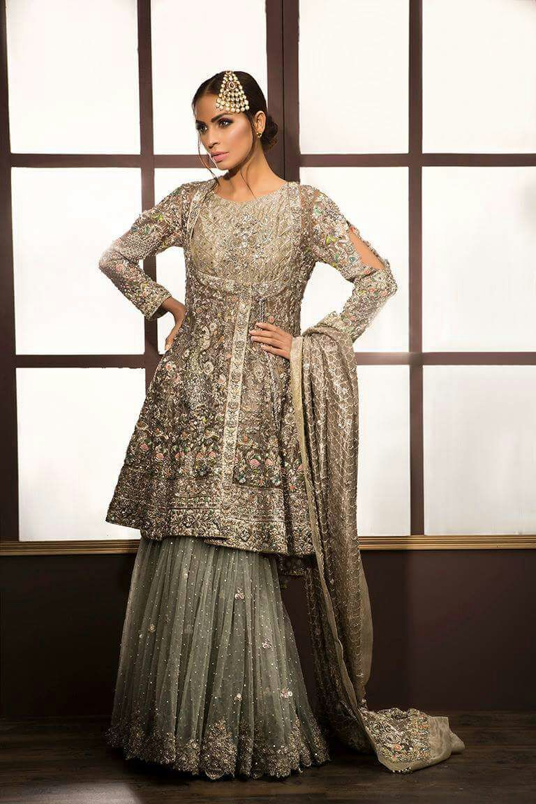 80fb7a7fc8 Bridal Angrakha Style With Sharara for Walima Reception Pakistani Dresses,  Pakistani Lehenga, Lehenga Choli