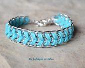 Bracelet gourmette et suédine bleue turquoise : Bracelet par la-fabrique-de-lilou