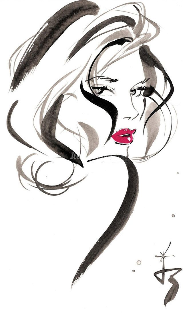 """""""Today I'm inspired by the work of British fashion illustrator Jacqueline Bissett. I've always admired and loved the classic """"fashion illustration style"""" – bold, gestural lines with seasonal colors based on the collection. Enjoy!"""""""