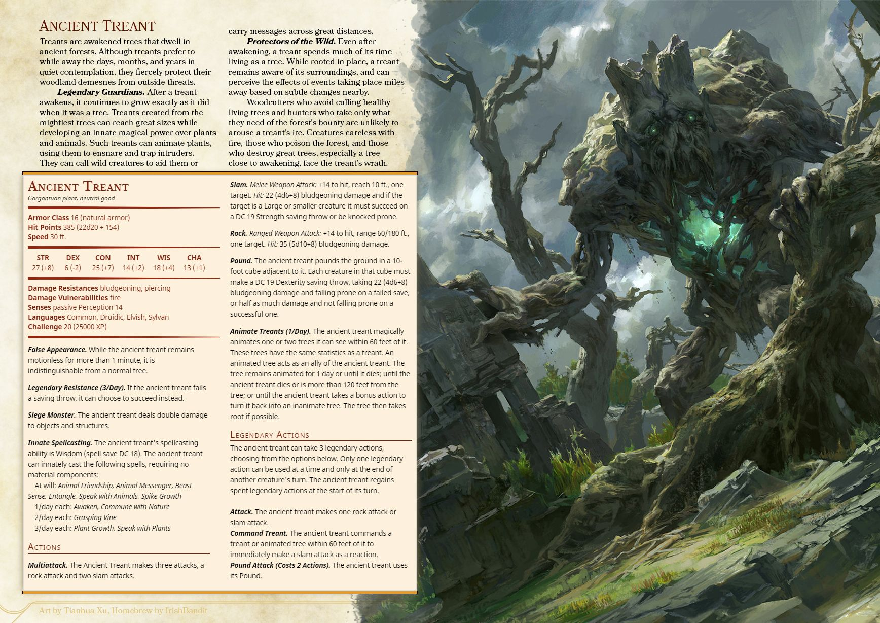 Ancient Treant D D Dungeons And Dragons Dungeons And Dragons Homebrew Dungeons And Dragons 5e