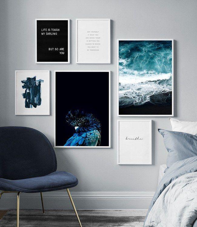 Billedvaeg I Sovevaerelse Indretning Og Plakater Til Sovevaerelset Slaapkamer Posters Slaapkamer Muur Een Slaapkamer Inrichten