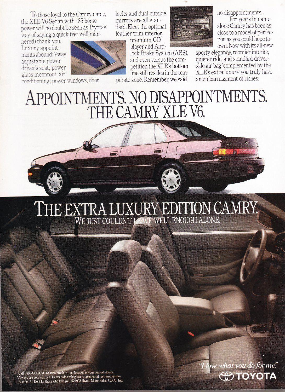 Toyota Camry Xle Ad Vintage Magazine Advertisement Toyotaclassiccars Camry Toyota Camry Toyota