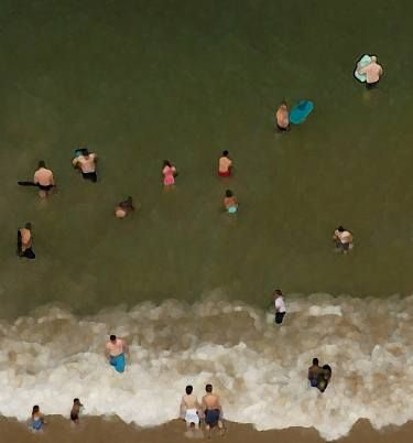 Buy People in the Water - Limited Edition 1 of 7, a C-type on Paper by Furio Torracchi from United Kingdom. It portrays: Beach, relevant to: beach, people, photography, sea, surf, water, aerial, fine art, fine art photography, collective, contemporary photography This kind of work is exploring how far photography can be reduced through digital manipulation, without losing visual elements. The similarity to painting which can appear as first approach is vanishing by a closer look at the work…