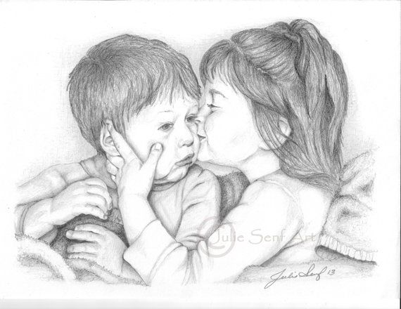 Art Print Greeting Card Drawing Pencil Drawing Sisters Love
