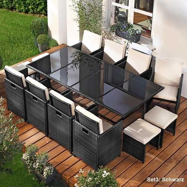 Outdoor Lounge Möbel polyrattan gartenmöbelset camouflage 13tlg schwarz gartengarnitur