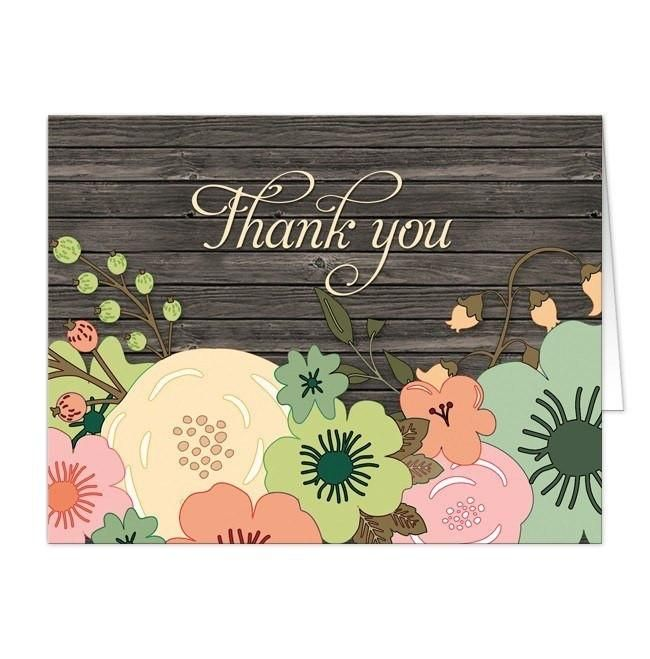 I Wanted To Share With You These Rustic Orange Teal Floral Wood Thank Cards