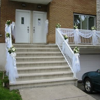 Balcony decorations stuff for saying the i dos pinterest wedding decorating with tulle on balconies bing images junglespirit Choice Image