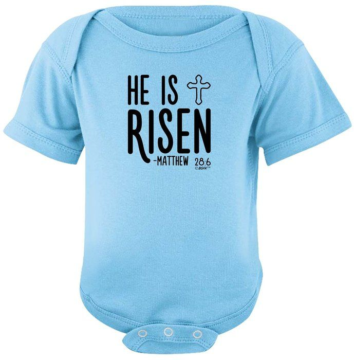 Christian toddler clothes he is risen christian easter verse christian toddler clothes he is risen christian easter verse bodysuit 24 months light blue negle Image collections