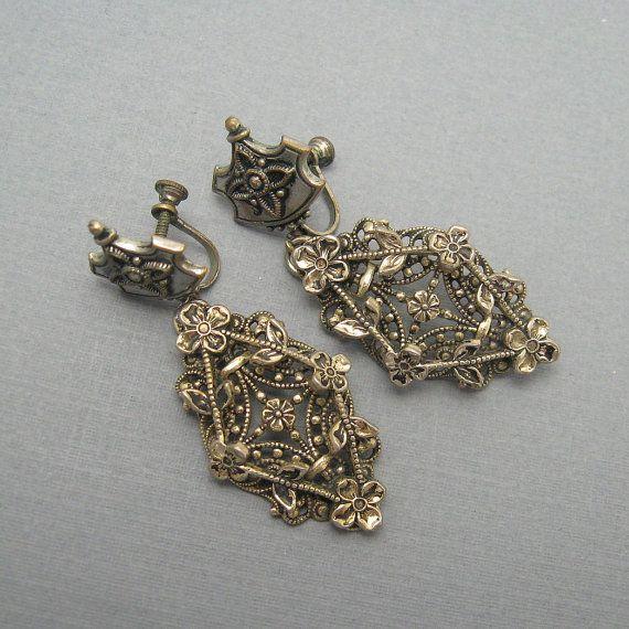 Long Vintage Earrings Ornate Forties Vintage by PurpleDaisyJewelry, $32.00