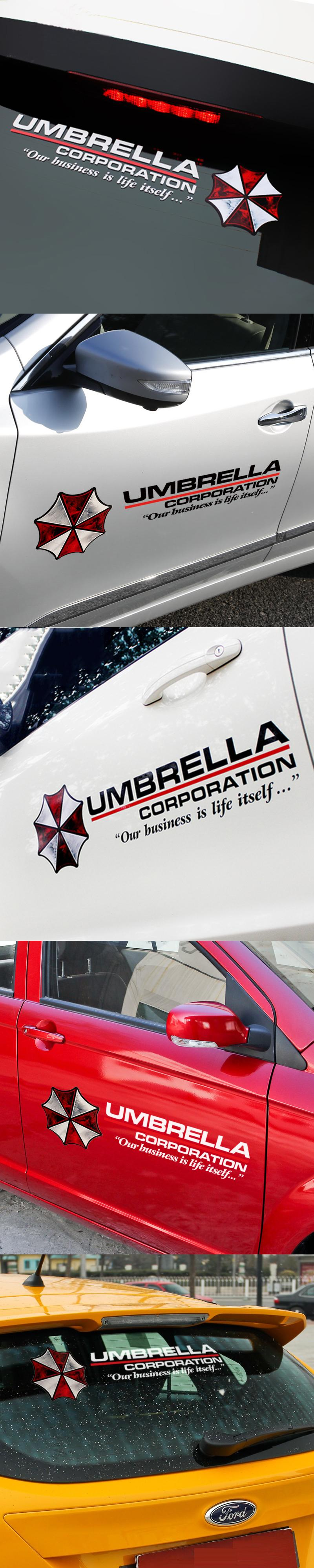 Car Styling Protective Umbrella Resident Evil Personality Sticker Reflective Zombie Car Sticker For Fuel Front Rear Winds Car Stickers Exterior Accessories Car [ 4000 x 800 Pixel ]