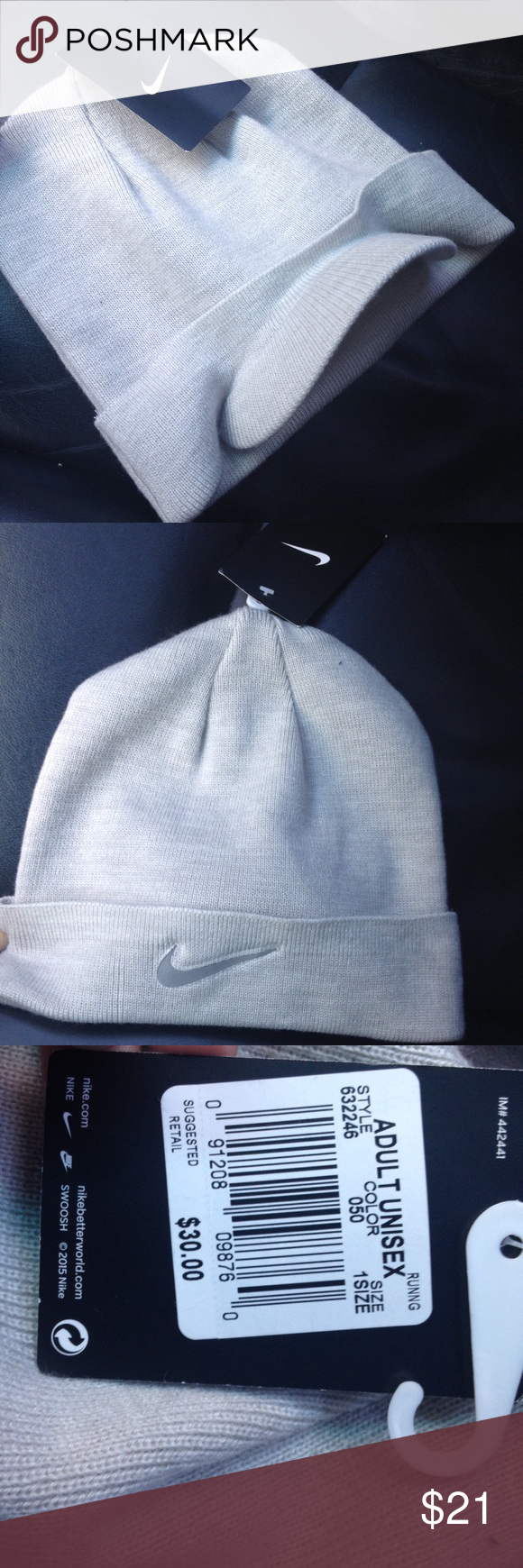 NIKE grey Run Crew knit visor beanie hat 🎁NEW NEW WITH TAG! LAST ONE 9a190a90d5f