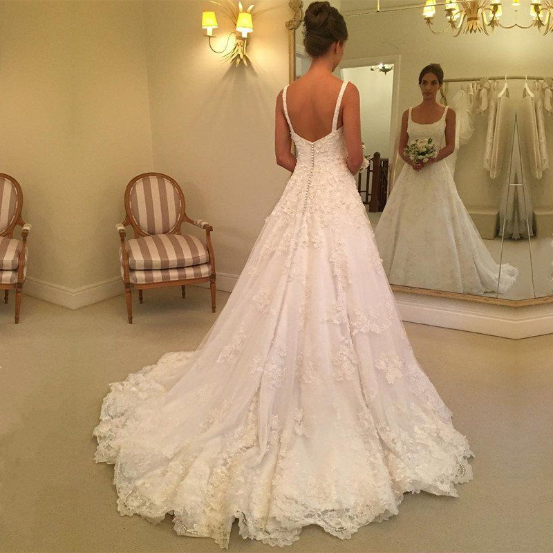 A Line Square Neck Lace Wedding Dress Jd 147