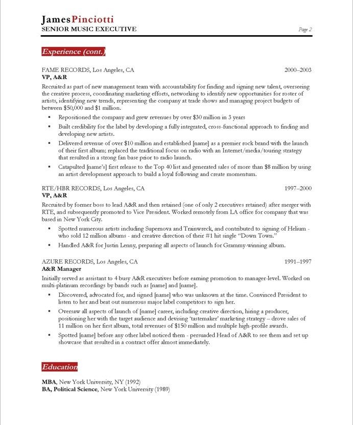 Academic Resume Examples Music Industry Executivepage2  Entertainment Resumes  Pinterest