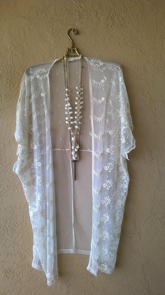 Image of Anthropologie lace pool kimono resort gypsy bohemian