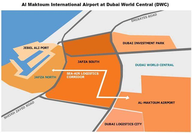 Map al maktoum international airport at dubai world central dwc map al maktoum international airport at dubai world central dwc gumiabroncs Image collections