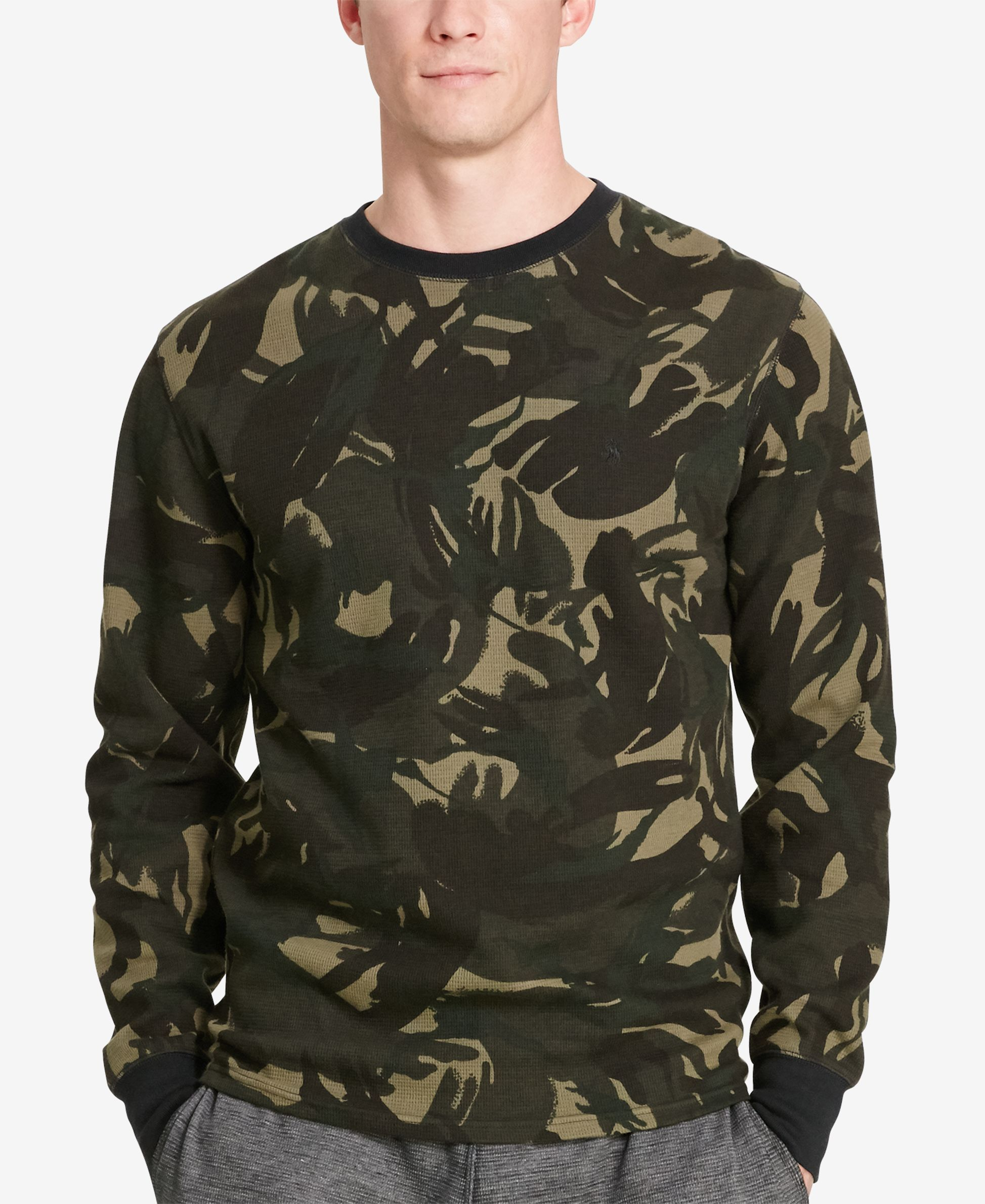 Polo Ralph Lauren Men's Camo Waffle-Knit Crew-Neck Thermal Top - Pajamas,  Lounge & Sleepwear - Men - Macy's