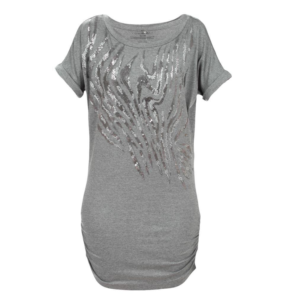 Vestido Calvin Klein Jeans Com Silk Bichos + Brilhos Cinza Médio  #casualdenvoamutum 65 3308 3039.