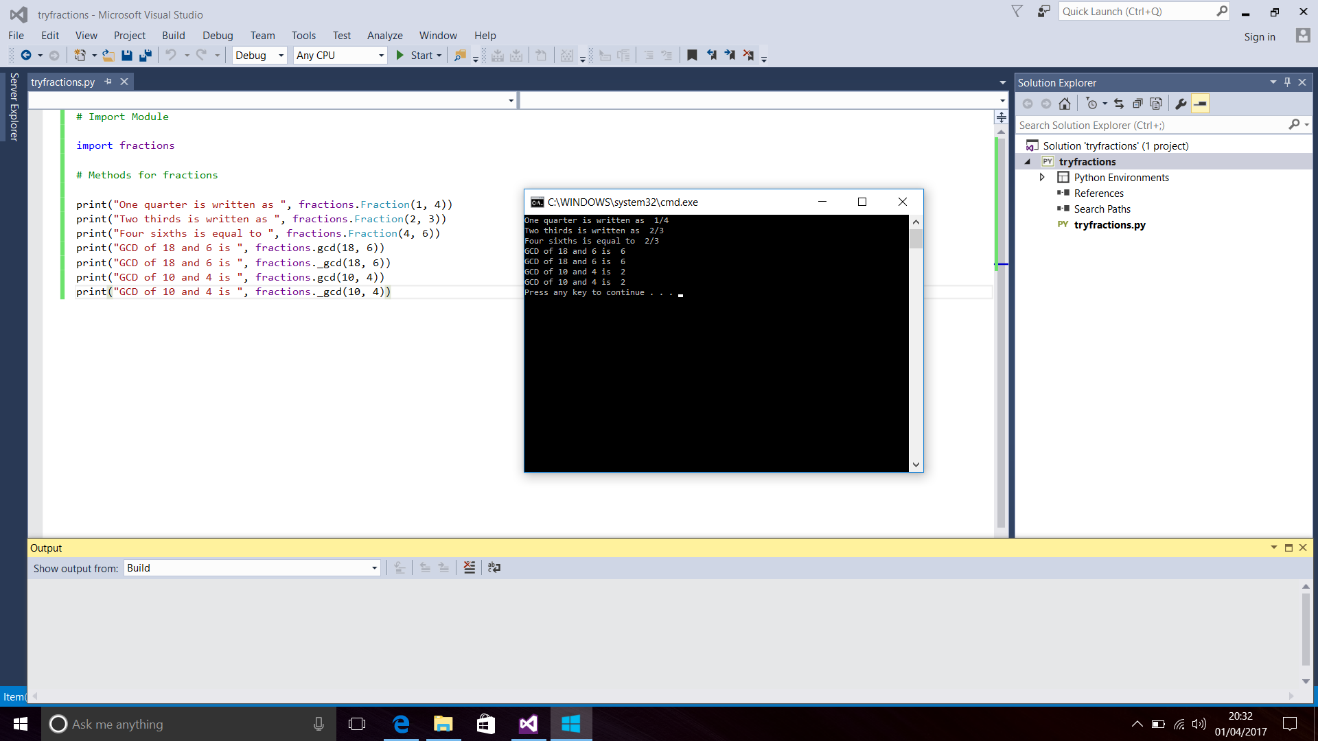 Screenshot Of Python Code And Console Window For Fraction Methods Text Editor