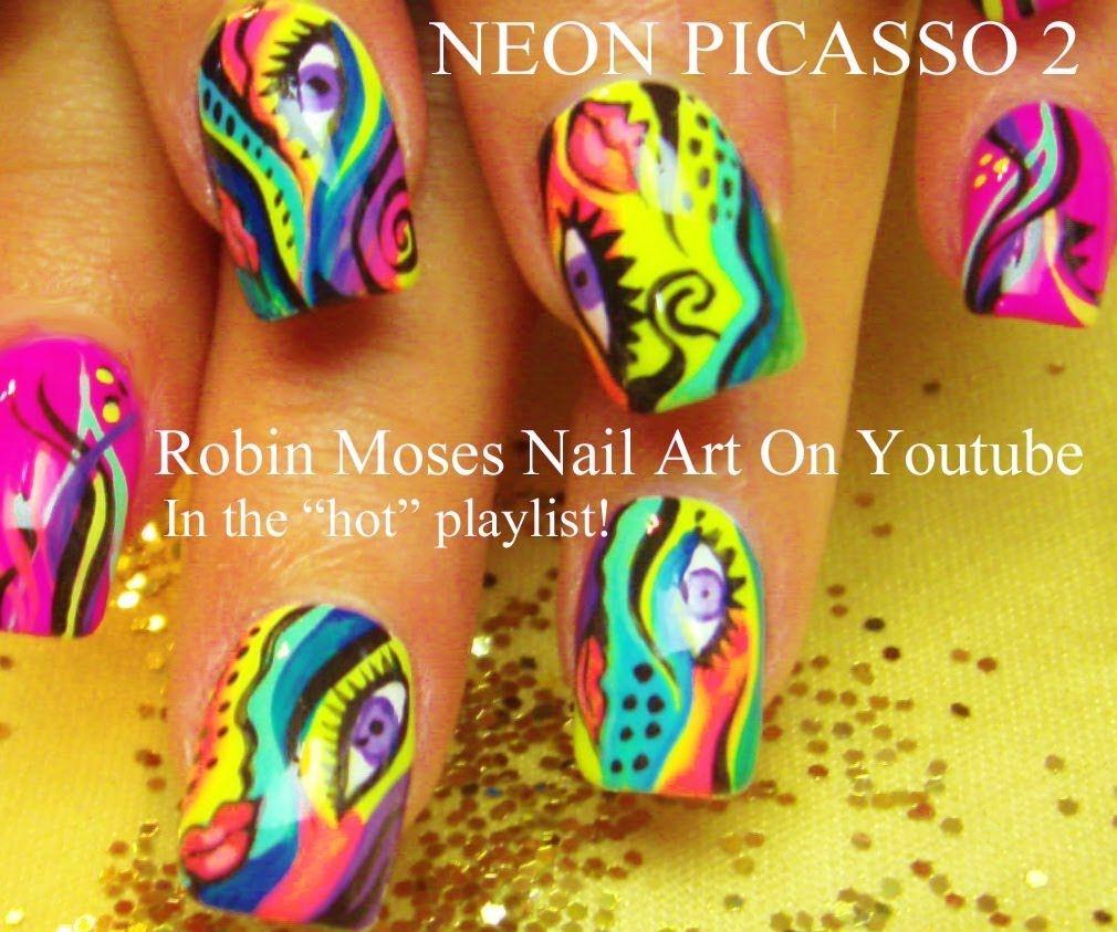 Nail Art Tutorial | DIY Abstract Nail Design | Neon Picasso Nails ...