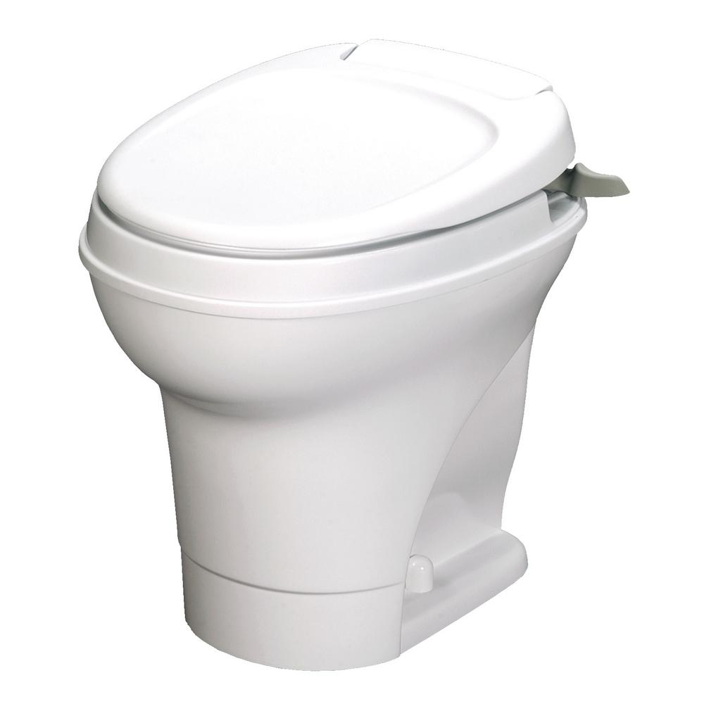 Aqua Magic V 10 In Rough In 1 Piece 06 Gpf Single Flush Hand Flush Round Rv Toilet In White 31667 The Home Depot Toilet Modern Toilet Flush