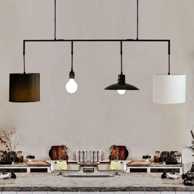 Weiß Moderne Kreative Leinen lampenschirm rustikalen hanf - pendelleuchte für küche